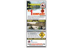This 8.5 x 3.5 advertisement promotes smart snowmobiling on private land. Ask First, Before You Go./></a>             <strong><a href=