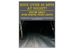 Vertical Poster of Snowmobilers and text 'Ride Over 45 MPH at Night. You're Likely Over Riding Your Lights'