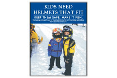 Vertical Poster of Snowmobilers and text 'Kids Need Helmets That Fit. Keep Them Safe. Make it Fun.'