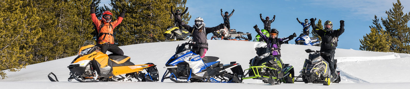 Snowmobilers having fun