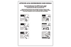 Vertical poster of line art drawings of various snowmobiling hand signals