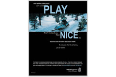Play nice snowmobiling poster