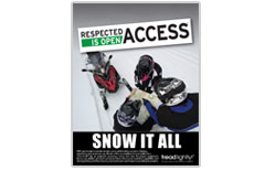 'Snow It All' PSA poster-encouraging riders to take an avalanche awareness course, carry proper equipment, know their abilities and respect riding boundaries
