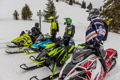 Group of snowmobilers riding along wooded trail